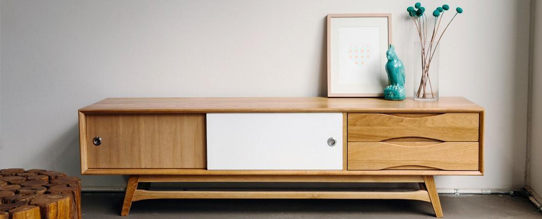 Retro Solid American Oak Tv Cabinet – Rust Furniture Australia With 2017 Slimline Tv Cabinets (Image 12 of 20)