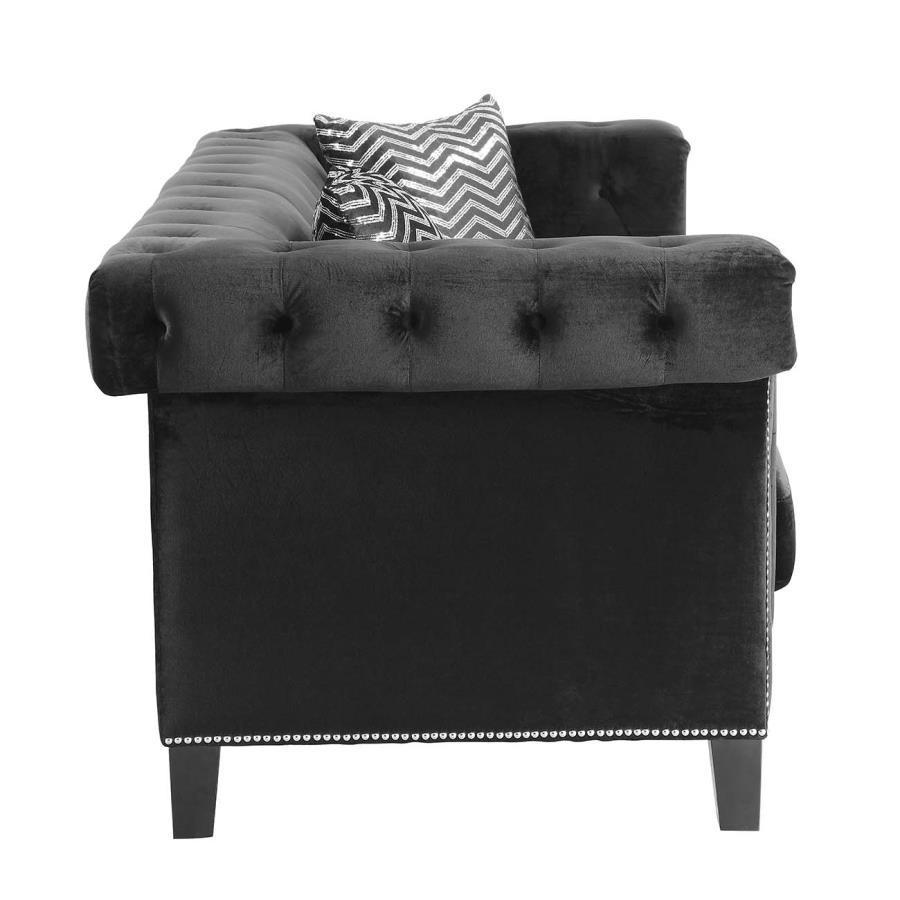 Reventlow Collection 505818 Black Velvet Sofa With Nailhead Trim With Black Velvet Sofas (Image 13 of 20)