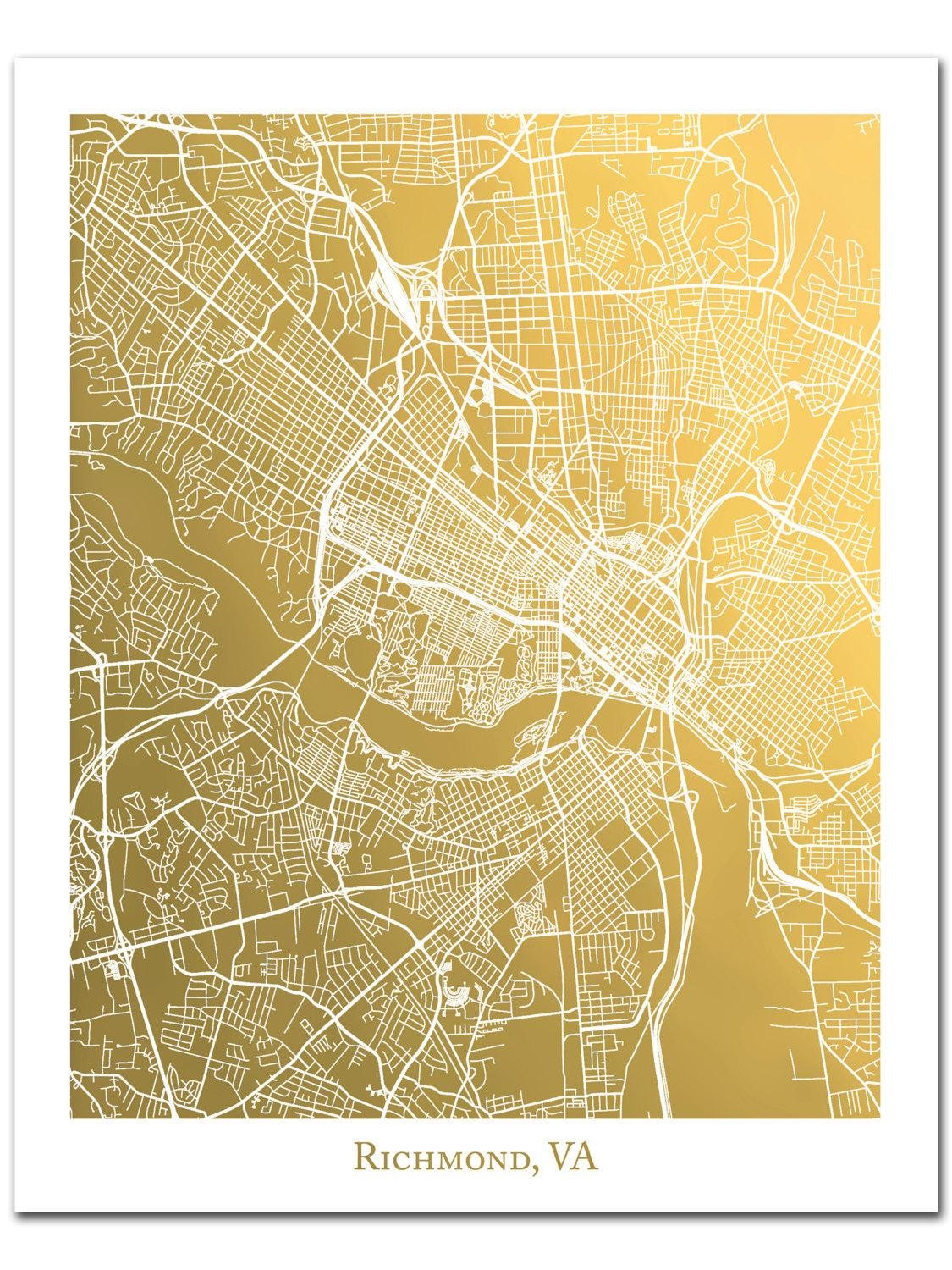 Richmond Map Map Of Richmond Virginia Gold Foil Map™ Gold Regarding Map Of Paris Wall Art (Image 16 of 20)