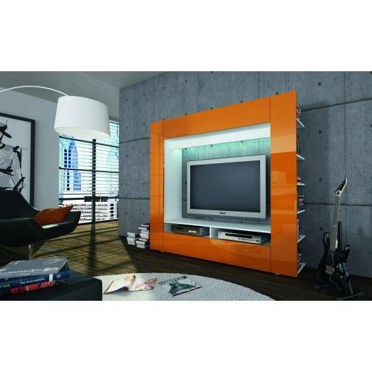 Ringo – Design Tv Unit Orange High Gloss Cabinet Tv Stand | Lounge Throughout Recent Orange Tv Stands (Image 11 of 20)