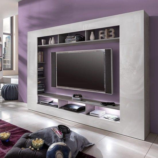 Rocco Tv Entertainment Unit In White Gloss High Gloss With With Regard To Latest Tv Entertainment Units (Image 9 of 20)