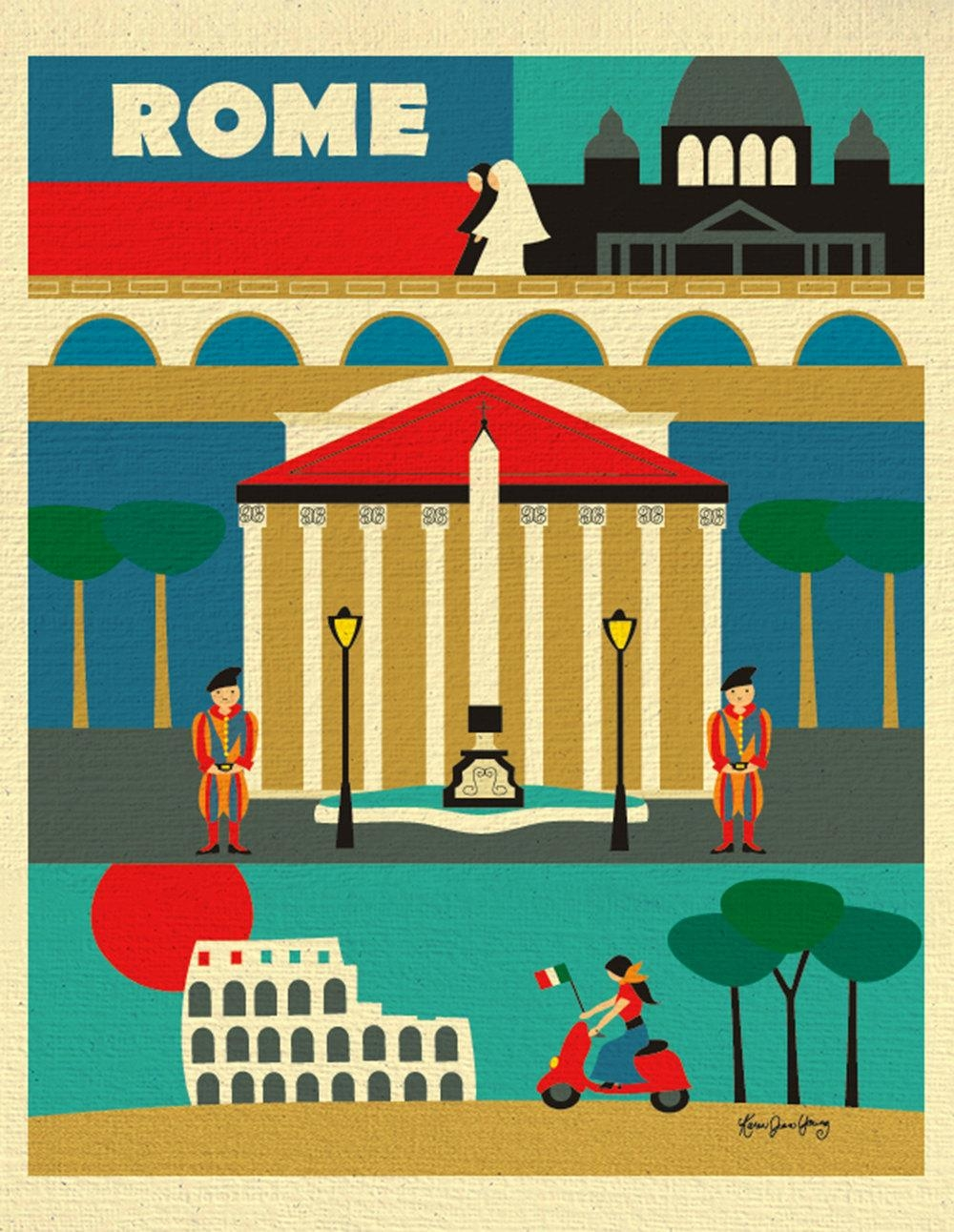 Rome Print Rome Wall Art Italy Travel Poster Rome Map Rome Within Italian Travel Wall Art (Image 10 of 20)