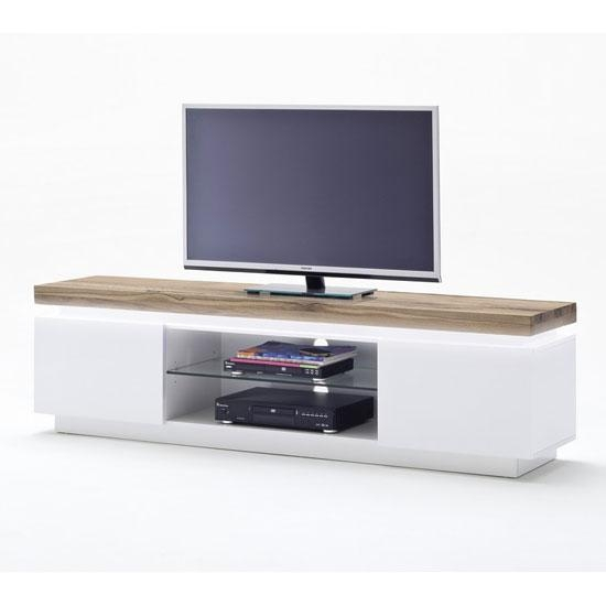 Romina Lowboard Tv Stand In Knotty Oak And Matt White With With Regard To Most Current White Wood Tv Stands (Image 14 of 20)