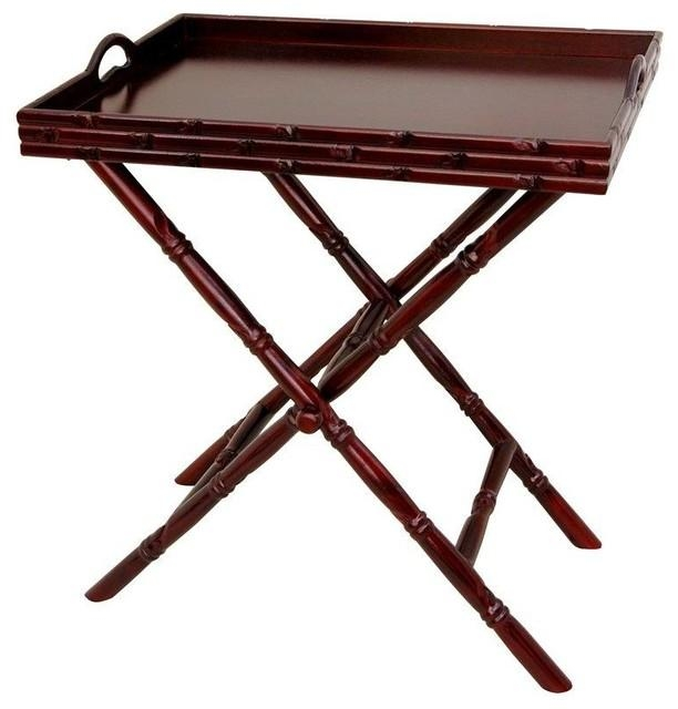 Rosewood Tea Tray With Trestle Stand – Asian – Tv Trays – In Recent Folding Tv Trays With Stand (Image 16 of 20)