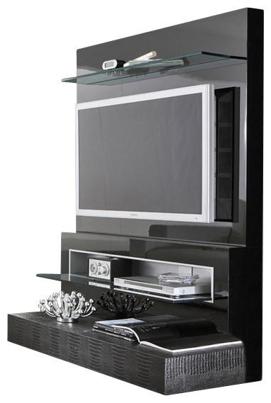 Rossetto Diamond Flat Screen Tv Stand, Black Lacquer For Current Entertainment Center Tv Stands (Image 16 of 20)