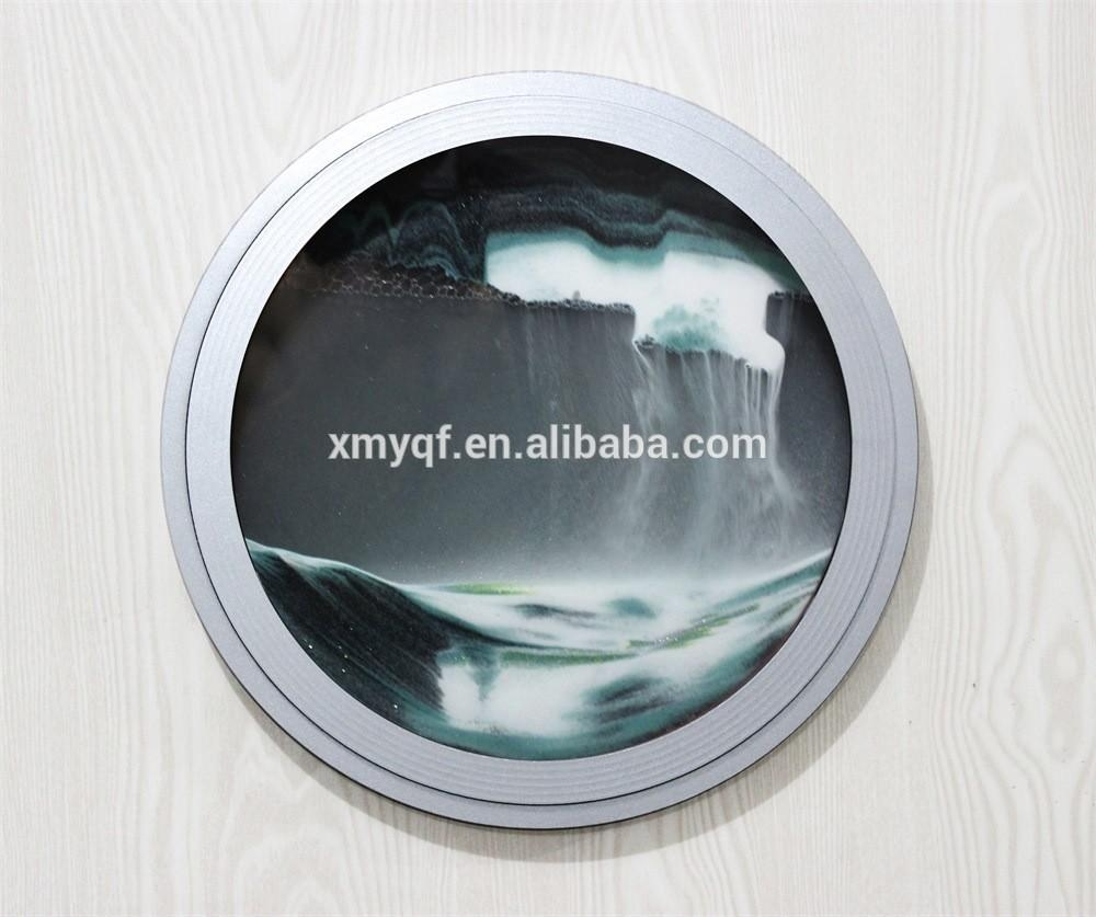 Round Moving Waterfall Sand Art Pictures For Home Office Wall In Moving Waterfall Wall Art (Image 12 of 20)