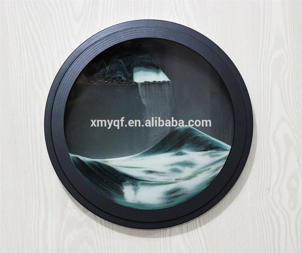 Round Moving Waterfall Sand Art Pictures For Home Office Wall Regarding Moving Waterfall Wall Art (Image 14 of 20)