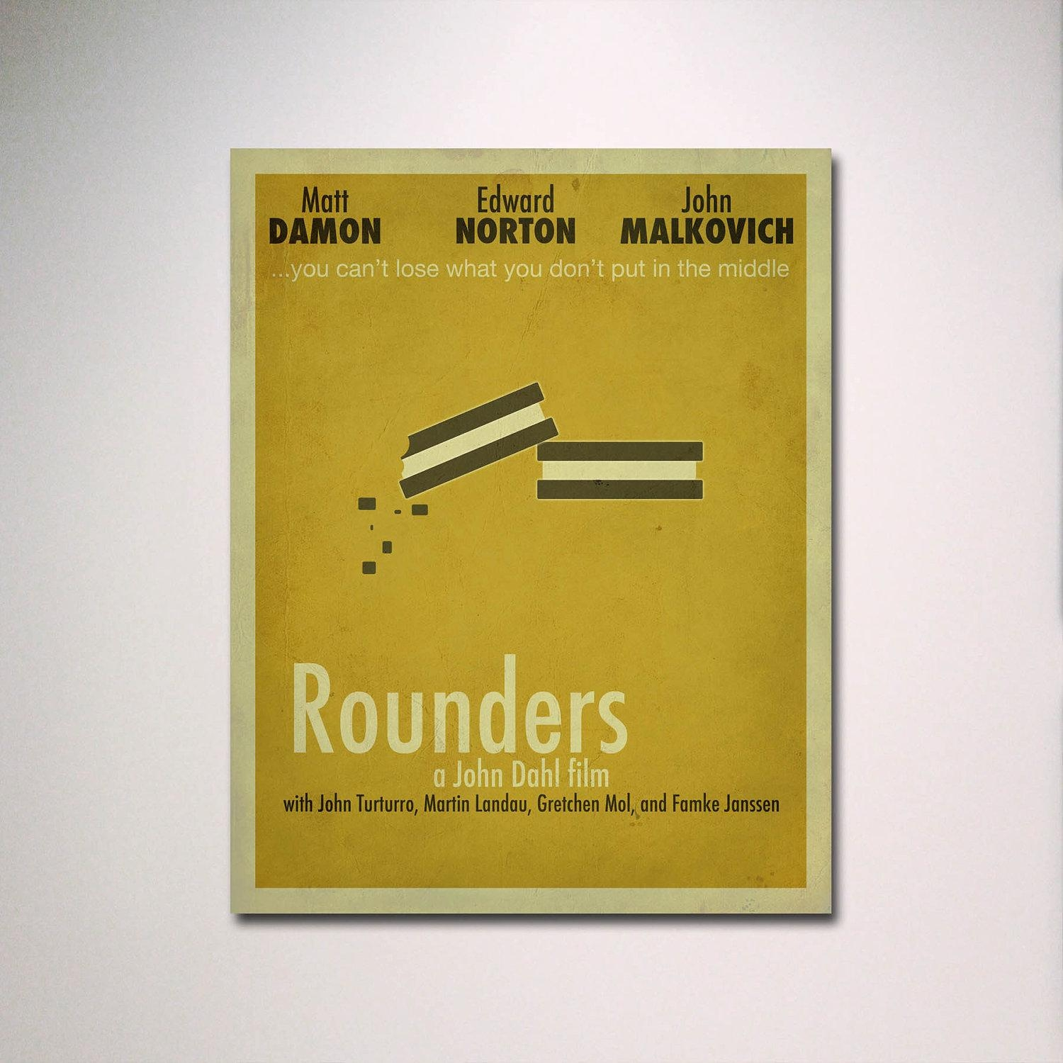 Rounders Minimalist Movie Poster / Poker Room / Movie Room / For Movie Themed Wall Art (Image 14 of 20)
