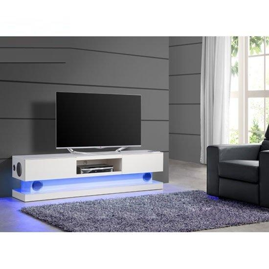 Royal White High Gloss Finish Plasma Tv Stand With Led Inside 2018 Tv Stands With Led Lights (Image 13 of 20)