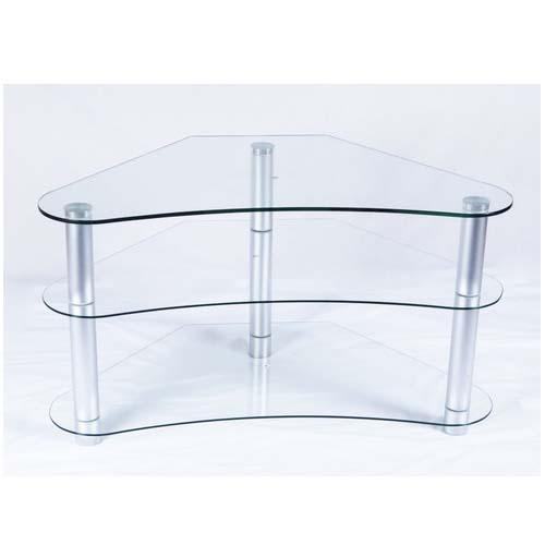 Rta Tier One Designs Curved 37 Corner Tv Stand Clear Glass T1D 100 With Most Recently Released Clear Glass Tv Stand (Image 14 of 20)