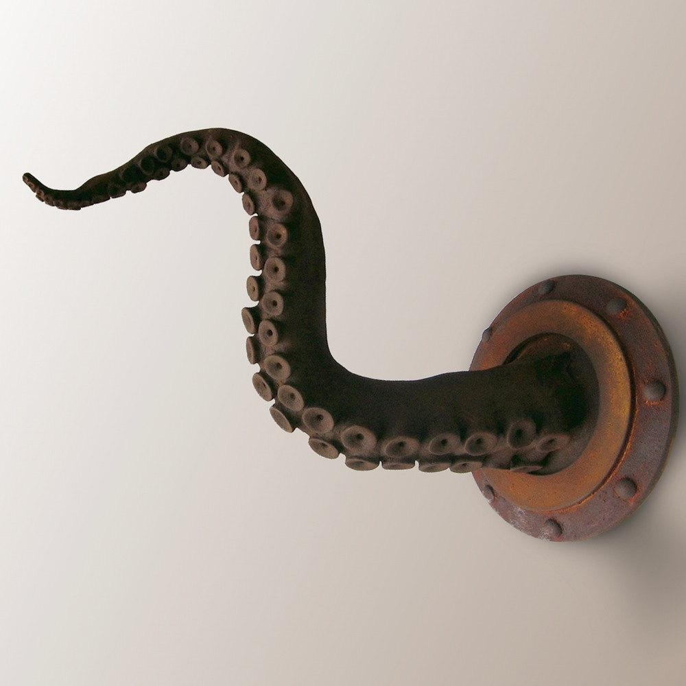 Rusted Tentacle Sculpture Octopus Art Object Beach House Throughout Octopus Tentacle Wall Art (View 5 of 20)