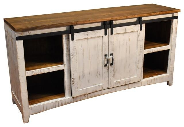 "Rustic 68"" White Barn Door Media Console – Farmhouse With Regard To Most Up To Date White Rustic Tv Stands (Image 13 of 20)"