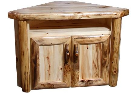 Rustic Aspen Log Corner Tv Stand | Rustic Log Furniture Pertaining To Newest Rustic Corner Tv Stands (Image 12 of 20)