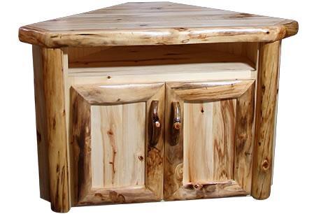 Rustic Aspen Log Corner Tv Stand | Rustic Log Furniture Pertaining To Newest Rustic Corner Tv Stands (View 11 of 20)