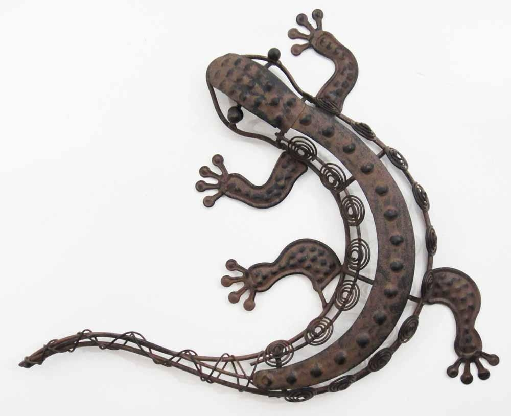 Rustic Coiled Metal Lizard Wall Art Loop Brilliant Contemporary Throughout Gecko Outdoor Wall Art (View 17 of 20)