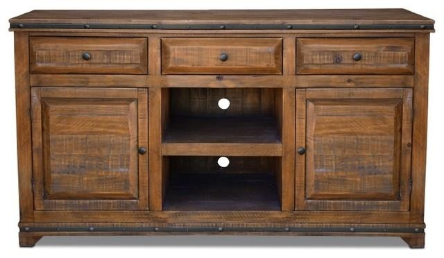 Rustic Distressed Reclaimed Solid Wood Credenza Tv Stand With 3 With Regard To Most Up To Date Solid Oak Tv Stands (Image 15 of 20)