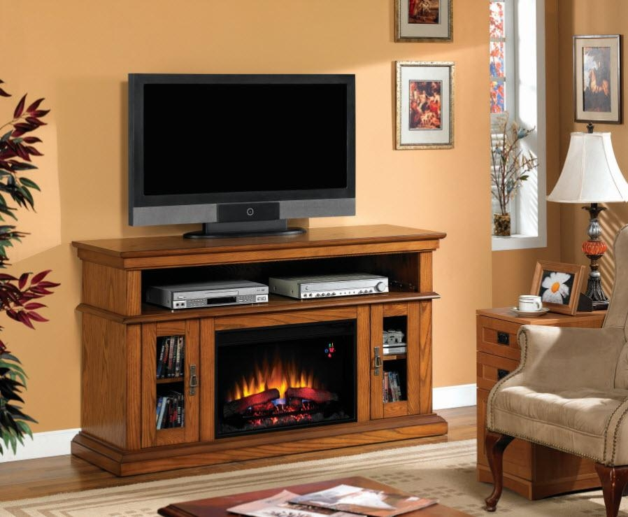 Rustic Electric Fireplaces I Portable Fireplace With Most Recent Honey Oak Tv Stands (Image 6 of 20)