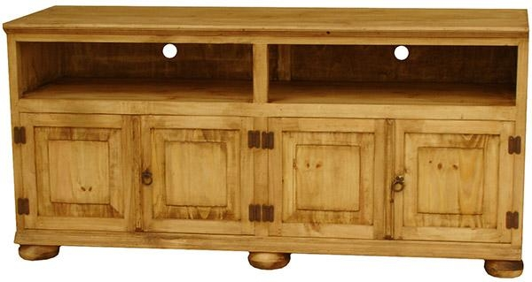 Rustic Furniture – Santana Mexican Rustic Pine Tv Stand W/ Bunn Feet Intended For 2017 Rustic Pine Tv Cabinets (Image 10 of 20)