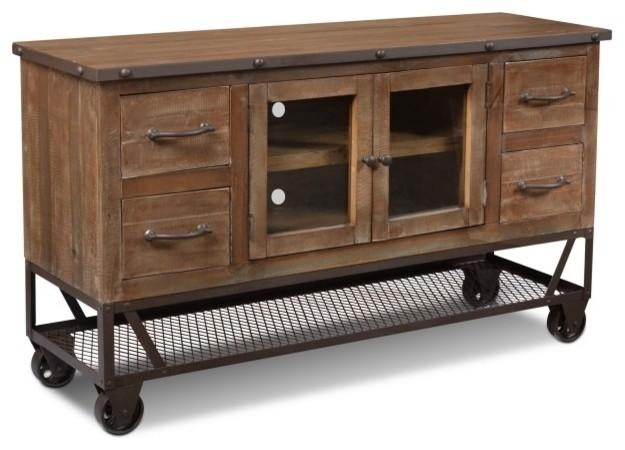 "Rustic Industrial Style 55"" Tv Stand – Industrial – Entertainment With Regard To 2018 Industrial Tv Stands (Image 18 of 20)"