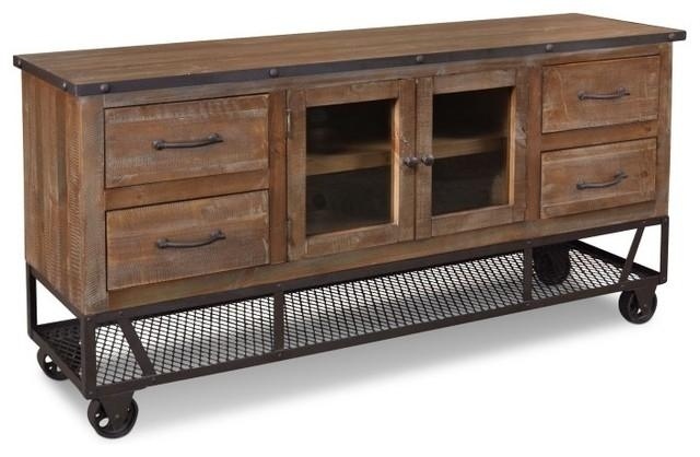"Rustic Industrial Style 65"" Tv Stand – Industrial – Entertainment Throughout Recent Industrial Style Tv Stands (Image 18 of 20)"