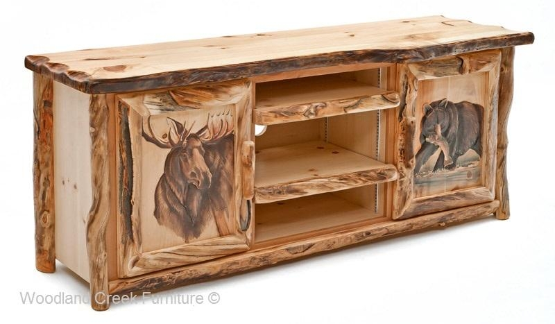 Rustic Log Entertainment Center, Log Cabin Tv Stand Inside Best And Newest Rustic Tv Cabinets (View 4 of 20)