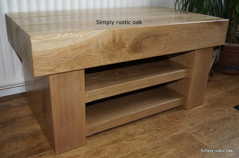 Rustic Oak 3 Beam Tv Stand With 2 Shelves | Simply Rustic Oak In Most Recently Released Rustic Oak Tv Stands (Image 13 of 20)