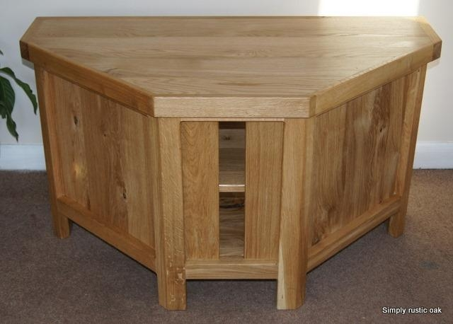 Rustic Oak Corner Tv Stand With Doors | Simply Rustic Oak Inside Current Corner Oak Tv Stands (View 8 of 20)
