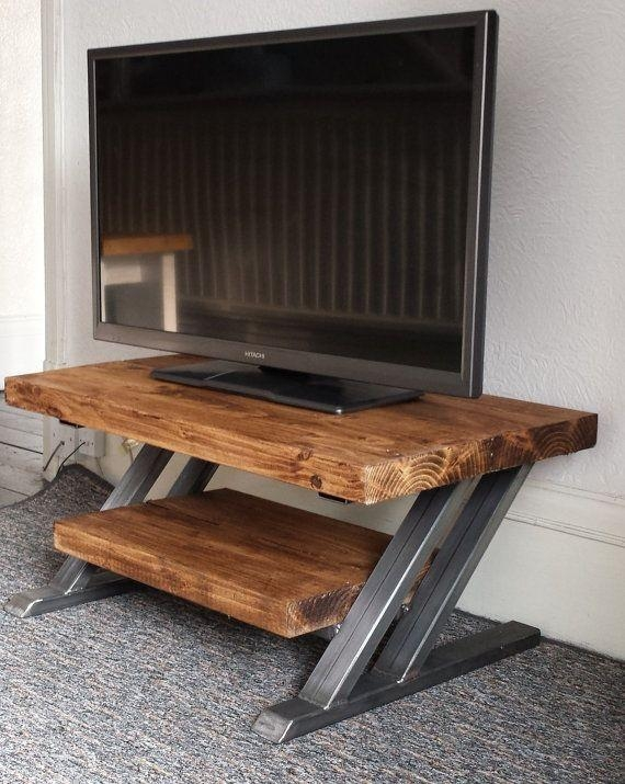 Rustic Oak Tv Stand Unit Cabinet Metal Z Frame Design Industrial Pertaining To Latest Industrial Tv Stands (View 16 of 20)