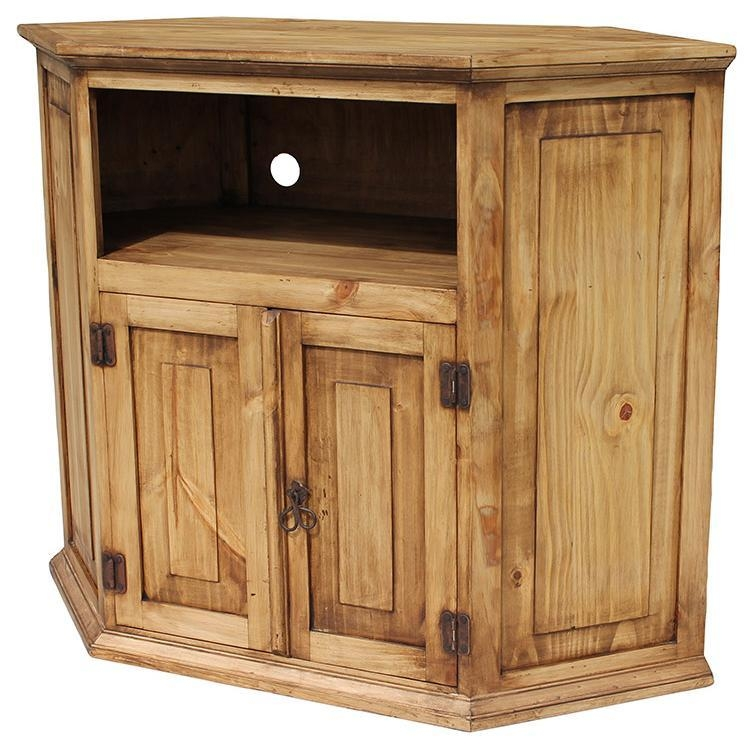 Rustic Pine Collection - Corner Tv Stand - Com11 in Most Up-to-Date Rustic Corner Tv Cabinets