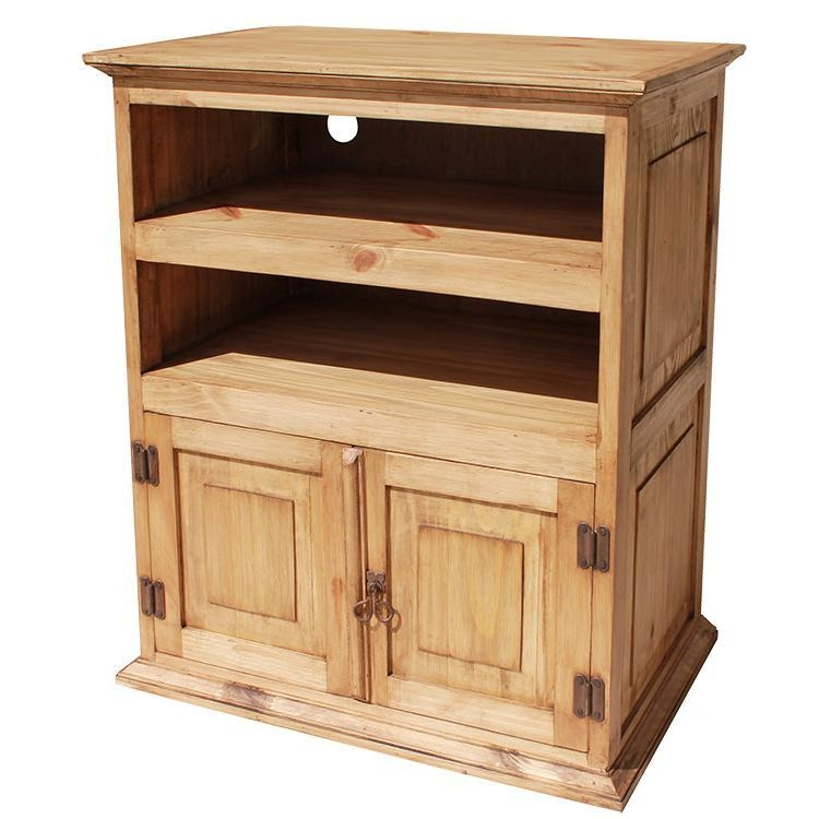 Rustic Pine Collection – Tall Tv Stand – Com220 Pertaining To Most Recent Tv Stand Tall Narrow (Image 11 of 20)