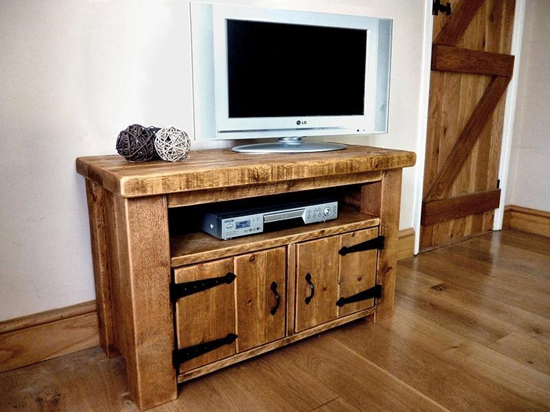 Rustic Pine Tv Cabinet With Doors | Ben Simpson Furniture Regarding Most Recently Released Rustic Tv Cabinets (Image 13 of 20)