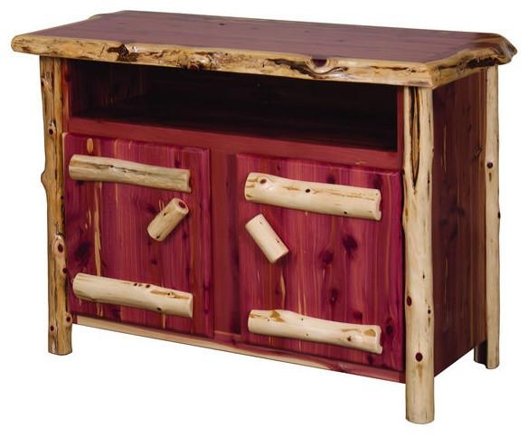 Rustic Red Cedar Log Tv Stand – Rustic – Entertainment Centers And Pertaining To Most Up To Date Rustic Red Tv Stands (Image 17 of 20)
