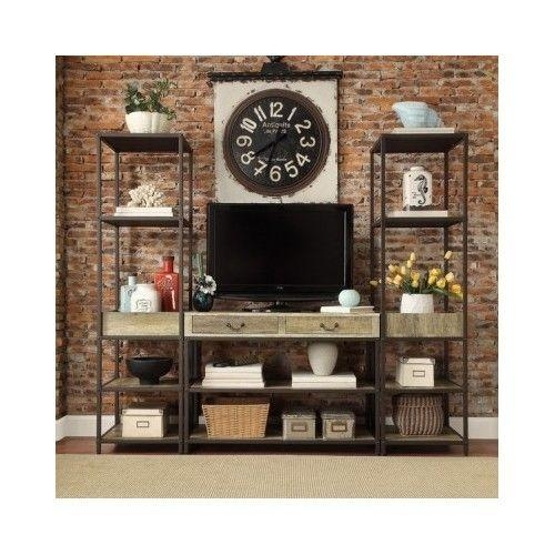 Rustic Tv Stand Industrial Media Console Table Open Shelf Vintage In Recent Open Shelf Tv Stands (View 7 of 20)