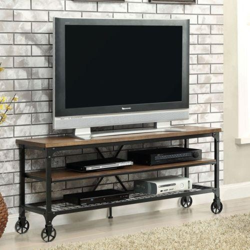 Rustic Tv Stand Industrial Oak Wood Metal Storage Shelf Media Inside Recent Metal And Wood Tv Stands (View 17 of 20)