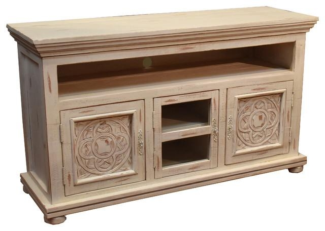 "Rustic Wood 55"" Tv Stand With Distressed White Paint Finish Throughout Best And Newest Rustic White Tv Stands (Image 15 of 20)"