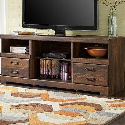 Rustic Wood Tv Stand Dark Oak Entertainment Center Media Storage With Regard To Most Popular Dark Wood Tv Stands (Image 16 of 20)