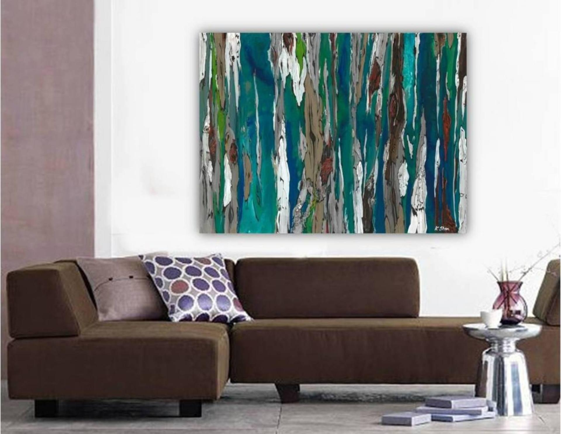 Saatchi Art: Large Contemporary Original Abstract Tree Landscape Pertaining To Blue And Brown Wall Art (Image 14 of 20)