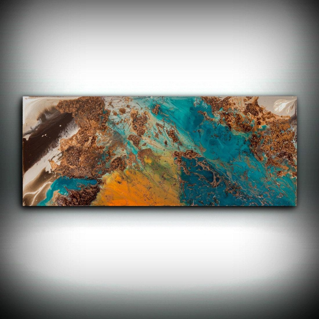 Sale Blue And Copper Art, Wall Art Prints Fine Art Prints Abstract Regarding Brown And Turquoise Wall Art (Image 10 of 20)