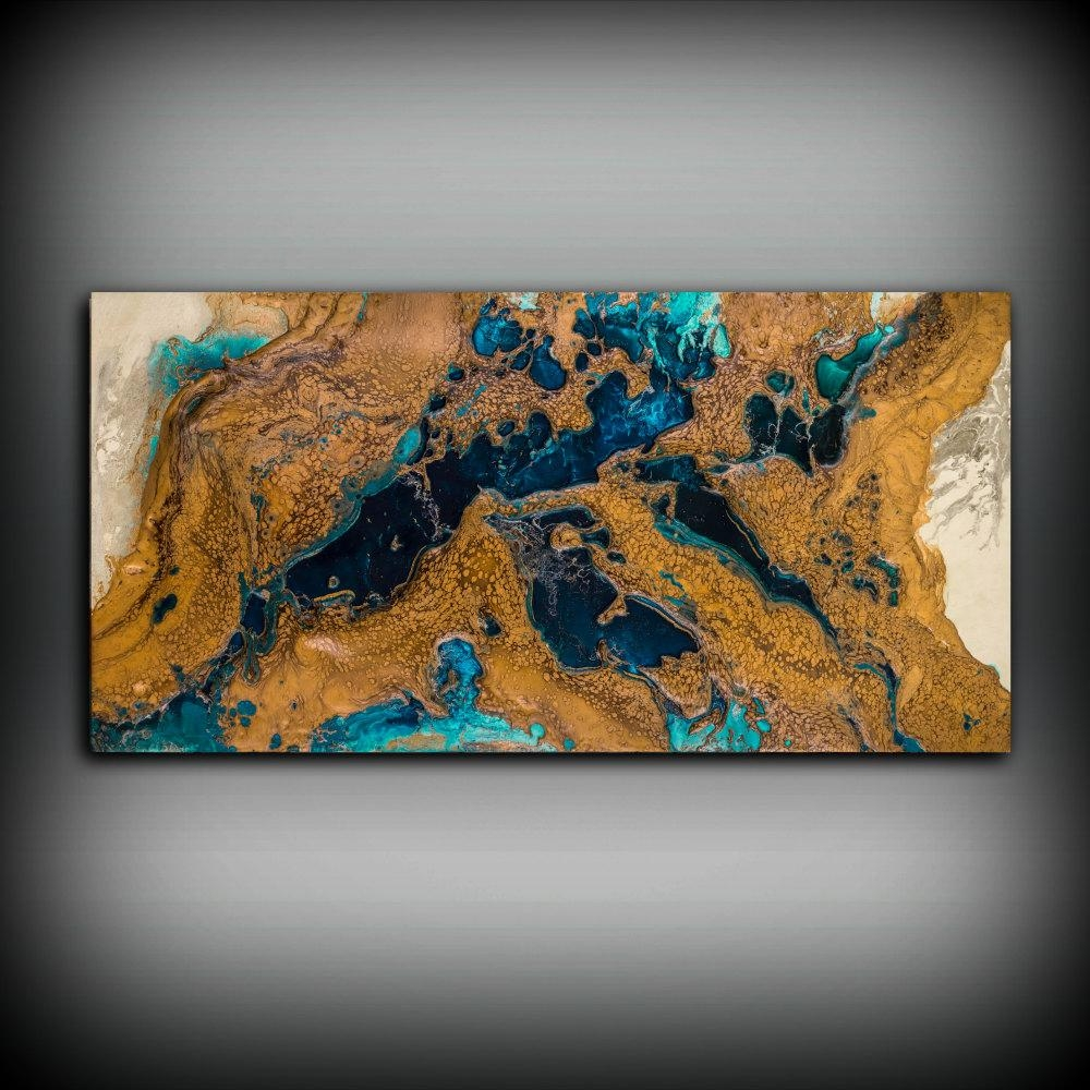 Sale Blue And Copper Art Wall Art Prints Fine Art Prints Regarding Brown And Turquoise Wall Art (Image 9 of 20)