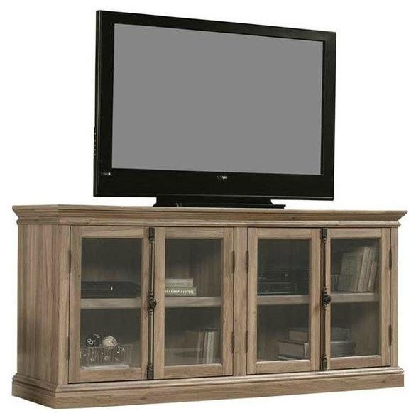 Salt Oak Wood Finish Tv Stand With Tempered Glass Doors Fits Up To With Regard To Current Wooden Tv Stands With Glass Doors (View 3 of 20)