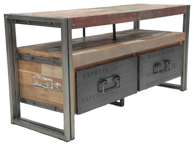 Salvaged Boat Wood Tv Console With 2 Drawers, Samudra Style Within Recent Industrial Style Tv Stands (Image 19 of 20)