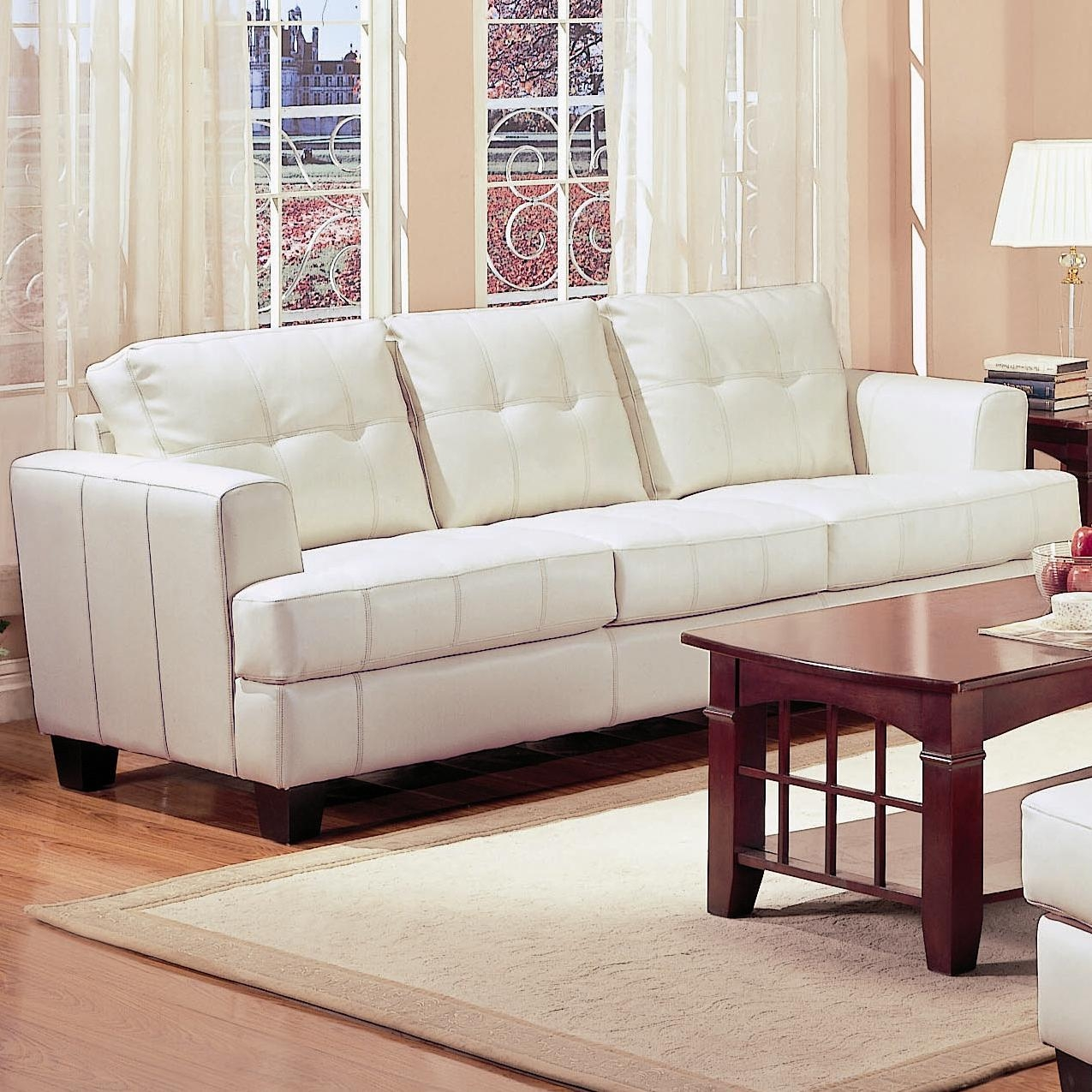 Samuel Beige Leather Sofa – Steal A Sofa Furniture Outlet Los Within Ivory Leather Sofas (View 9 of 20)
