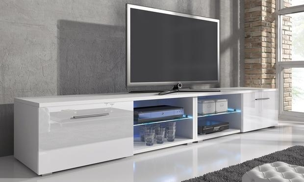 Samuel Tv Cabinet With Led | Groupon Goods Inside Best And Newest Tv Cabinet Gloss White (Image 15 of 20)