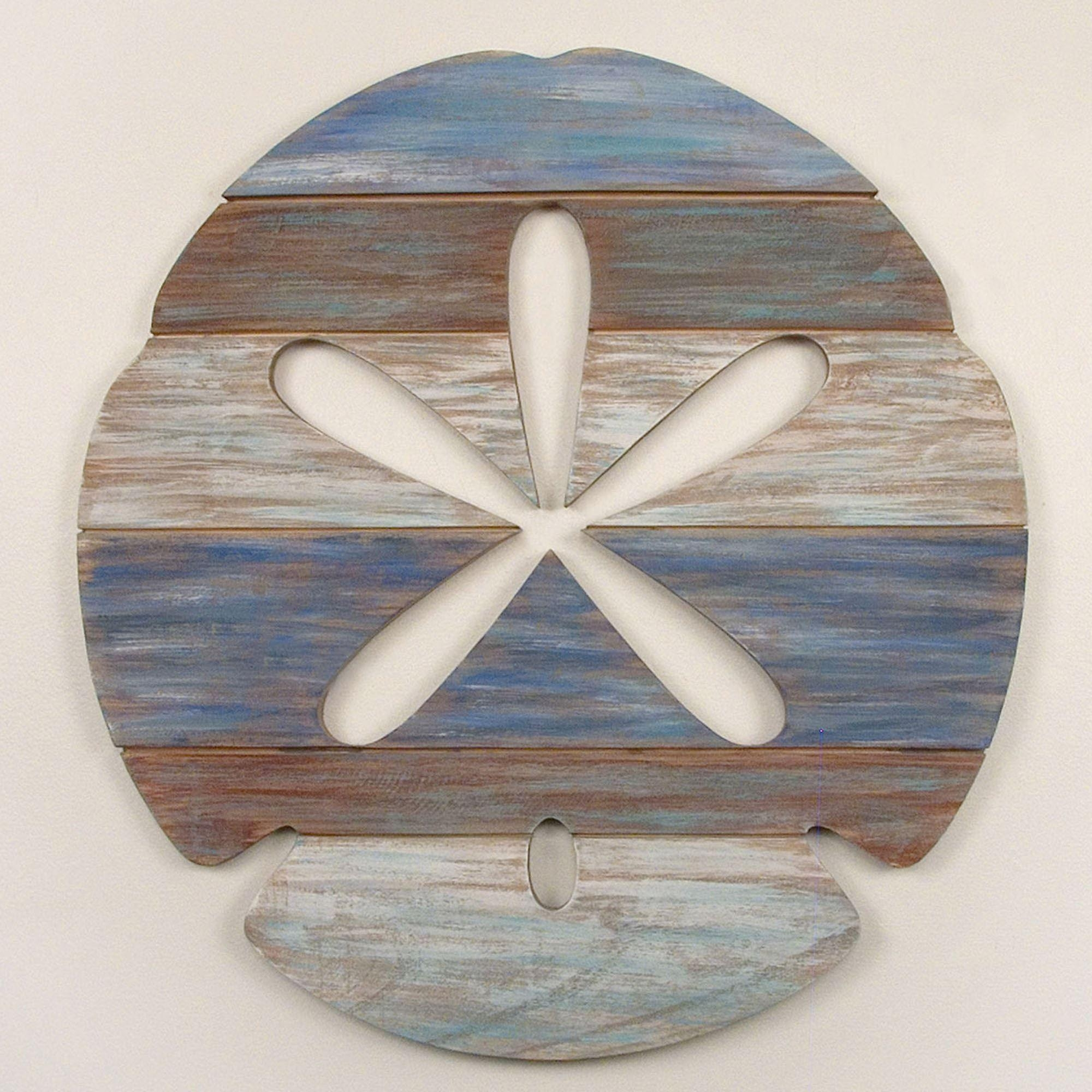 Sand Dollar Wood Slat Wall Art In Sand Dollar Wall Art (Image 14 of 20)