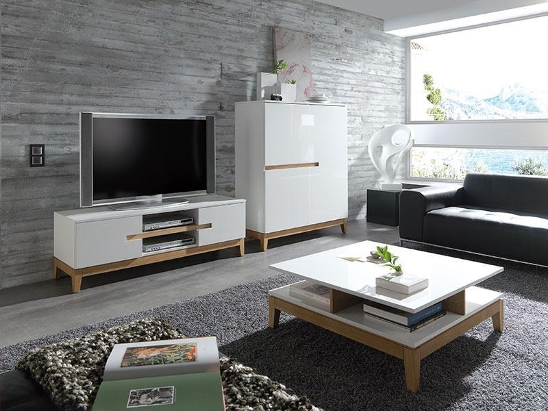 Sandrine Contemporary High Gloss White And Oak Cabinet For Newest Matching Tv Unit And Coffee Tables (Image 16 of 20)