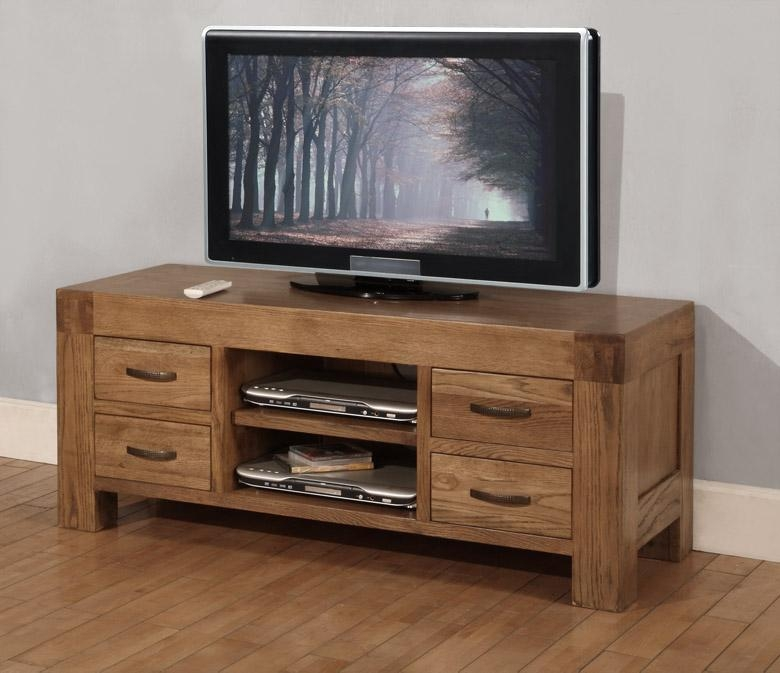 Sandringham Solid Oak Furniture Widescreen Tv Cabinet Stand Unit With Regard To Most Recently Released Oak Widescreen Tv Unit (Image 18 of 20)