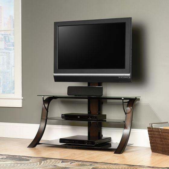 Sauder 413906 Black/seasoned Cherry/black Glass Veer Tv Stand Mount With Most Recent Swivel Black Glass Tv Stands (Image 17 of 20)