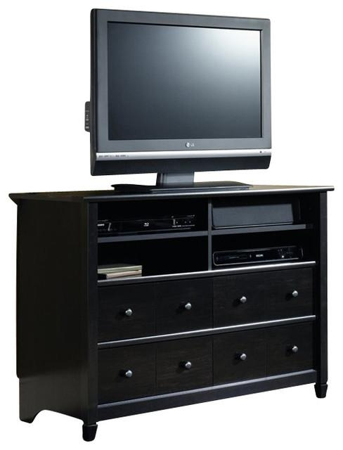 Sauder Edge Water Highboy Tv Stand In Estate Black – Modern Throughout Most Recently Released Highboy Tv Stands (View 2 of 20)