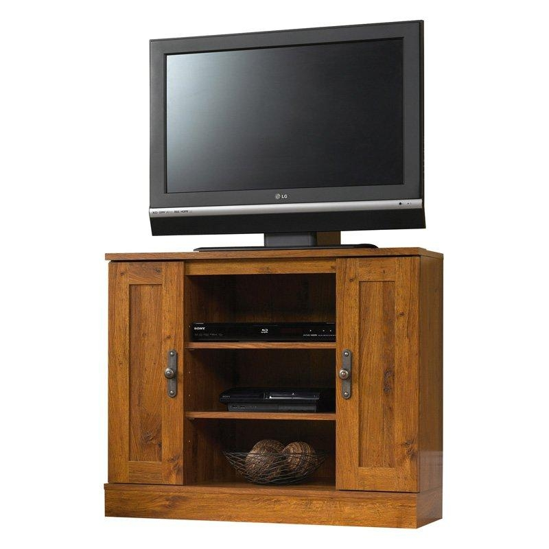 Sauder Harvest Mill Panel Tv Stand – Abbey Oak | Hayneedle Pertaining To Most Popular Oak Corner Tv Stands (Image 19 of 20)