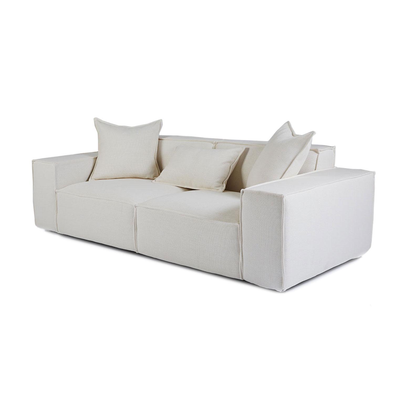 Scandinavian Mila White Fabric Sofa – 2 4 Seater Lounge With White Fabric Sofas (View 17 of 20)
